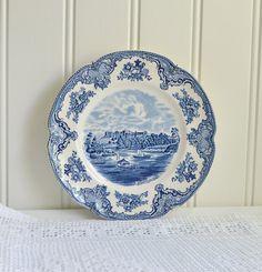 Blue transferware vintage plate old britain by GrannyHannasCottage Johnson Bros, Vintage Plates, White Home Decor, White Houses, Cottage Chic, Castles, Britain, Decorative Plates, Cookie