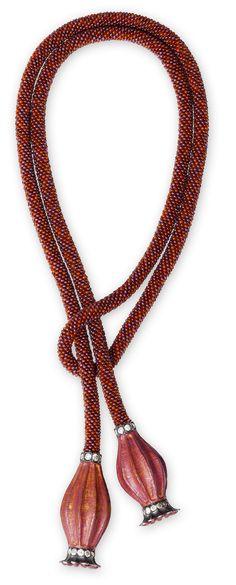 Hemmerle Poppy Seed necklace ~  diamonds, garnet, carnelian, copper, silver and gold