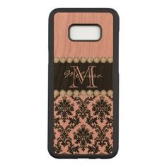 Pastel Baby Pink black floral Damask Diamonds Carved Samsung Galaxy S8 Case - lace gifts style diy unique special ideas