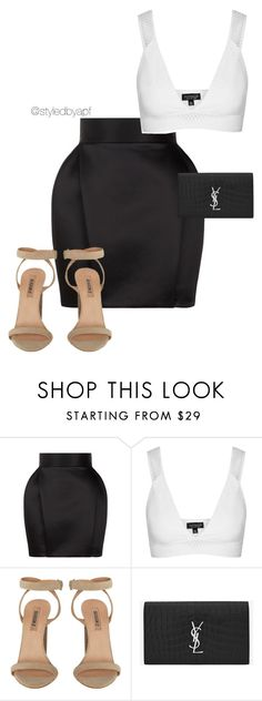 """MONO"" by apf-style on Polyvore featuring Balmain, Topshop and Yves Saint Laurent"