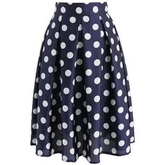 Chicwish Retro Feeling Polka Dots Pleated A-line Skirt in Navy (730 MXN) ❤ liked on Polyvore featuring skirts, bottoms, saias, blue, navy skirt, navy slip, navy pleated skirt, blue skirt and knee length pleated skirt