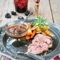 Ankbröst med katrinplommonsås Food Decoration, Steak, Beef, Recipes, Drinks, Drinking, Beverages, Rezepte