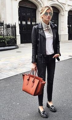 Leather jacket + leather loafers.