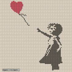 "Banksy Cross Stitch Pattern - Girl With Balloon ""There Is Always Hope"""
