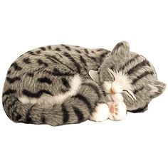 Perfect Petzzz Gray Tabby Cat Lifelike Stuffed Animal w/ Carrier Bed & Brush *** Click sponsored image to review more details.