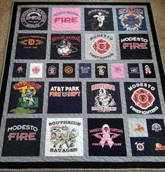 Tshirt quilt - Jersey tshirt quilts made from 9 to 49 tees Memory T shirt quilts Custom tshirts quilt Deposit only! The prices are below quilt photo – Tshirt quilt Quilting Projects, Quilting Designs, Sewing Projects, Quilting Ideas, Sewing Tips, Truck Fire, Jersey Quilt, Lap Quilts, Panel Quilts