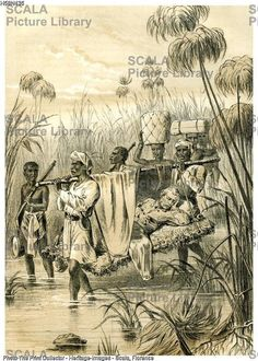 A dying David Livingstone is carried by African natives. 1870's.