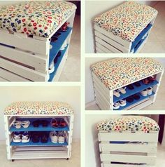 Imágenes y consejos geniales para poner orden en casa y aprovechar los muebles … Images and great tips to put order at home and make the most of the furniture. Pallet Projects, Home Projects, Diy Pallet, Pallet Ideas, Diy Rangement, Palette Diy, Diy Home Decor, Room Decor, Diy Casa