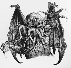 Cthulhu by Martin McKenna Cthulhu Art, Lovecraft Cthulhu, Evil Tattoos, Skull Sleeve Tattoos, Lovecraftian Horror, Eldritch Horror, Satanic Art, Demon Art, Monster Design
