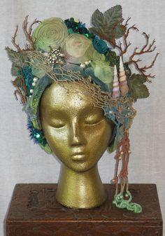 Hand Dyed Mermaid Sea goddess Fantasy Headdress Headpiece tiara hat Crown Shells Pearts Sequins costume