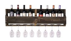DAKODA LOVE - The Olivia Wine Rack, USA Handmade Reclaimed Wood, Wall Mounted, 8 Bottle 8 Long Stem Glass Holder (Dark Walnut) >>> Learn more by visiting the image link. This is an affiliate link. Wood Wine Racks, Wine Rack Wall, Vin Palette, Pallet Wine, Wine Rack Cabinet, Bottle Rack, Glass Holders, Dark Walnut, Unique Furniture