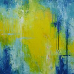 40x40 green blue large abstract painting yellow by ElenasArtStudio, $379.00