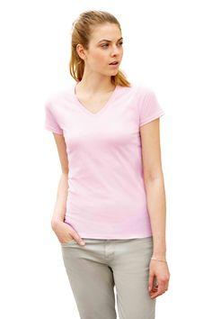 Dames t-shirt met V-hals en korte mouwen    - 100% katoen  - grammage: 160 g/m2 (wit), 165 g/m2 (kleur)  - jersey  - de kleur Heather Grey is gemaakt van 97% katoen en 3% polyester  - open-end garen met Belcoro®  - ook verkrijgbaar in een heren model  - slim fit
