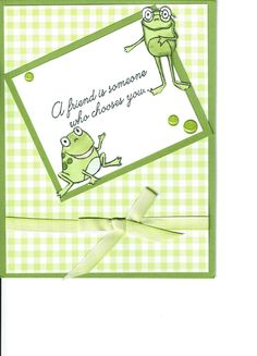 I love how sweet the frogs are in the So Hoppy Together Sale-A-Bration stamp set! I can't seem to move on to another stamp! Here are my green frogs! Fancy Fold Cards, Folded Cards, Poinsettia Cards, Cards For Friends, Friend Cards, Owl Card, Making Greeting Cards, Bird Cards, Stamping Up Cards