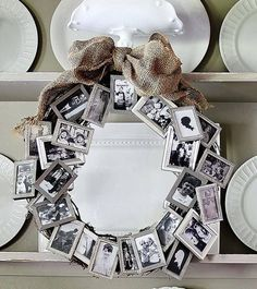 A bunch of dollar store small frames to create a meaningful wreath. Great anniversary, retirement or birthday gift. Birthday gifts #birthdaygifts