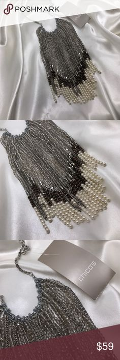 😍Chico's Nova Fringe Stunning statement piece w beads, pearls & silver chains. I'm so tempted to keep this for myself! It probably won't stay in my closet for long!!! Chico's Jewelry Necklaces
