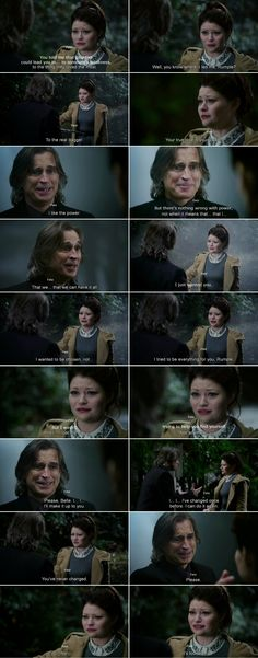 """""""I wanted to be chosen, not ... I tried to be everything for you, Rumple. But i wasn't . And i.. I lost my way."""" Belle and Rumple - 4 * 11 """"Heroes and Villains"""" #RumBelle"""