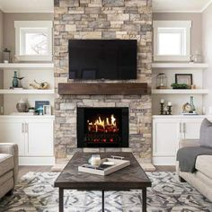 Basement Fireplace, Home Fireplace, Fireplace Remodel, Living Room With Fireplace, Fireplace Design, Fireplace Ideas, Electric Fireplace With Mantle, Realistic Electric Fireplace, Cozy Basement