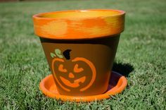 clay pot halloween decorations | Hand Painted Clay Pot // Halloween Themed Clay Pot // Herb Pot