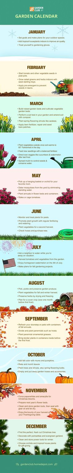 Your Monthly Garden Calendar | Keep your garden calendar as close as your Pinterest page when you save and share this Garden Club calendar infographic from The Home Depot.