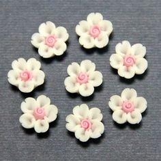 1pc-Volume heart cherry-Koshiro-Polymer Clay DIY Flowers for Earring Pendant Ring 8mm. $0.20, via Etsy.: