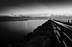 Portage Lake Pier Black And White Photograph