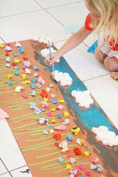 Easy kid mural...crumpled up colored paper glued onto butcher paper. by myrna