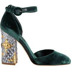 Dolce & Gabbana Mosaic-Heel Two-Piece Pump (1.285 BRL) ❤ liked on Polyvore featuring shoes, pumps, sapatos, heels, thick heel pumps, chunky high heel pumps, round toe pumps, chunky heel pumps and dolce gabbana shoes