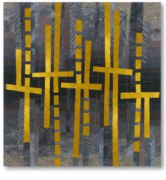"""""""Road Writing"""", 26.5 x 25"""" by Liz Kuny. Cotton & hand-dyed fabric, machine pieced; machine & hand quilted"""