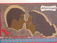 Card size 5-1/2 x7-1/2; Cardstock and Giltter paper recollections; Patter paper colorbok paper stack; Ribbon American crafts; Martha stewart edge punch; Heart brads from Hot off the Press; Sentiment stamp cardztv hear to heart; Cricut cartridge CTMH Art philosophy; Couple die cut silhouette #5757