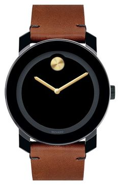 Free shipping and returns on Movado 'Bold' Leather Strap Watch, 42mm at Nordstrom.com. Movado's signature Museum dot shines at 12 o'clock on the sleek black dial of a minimalist round watch set on a rich Colorado leather strap.
