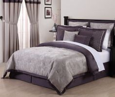 Amazon.com: De Boise Purple, Grey 8Pc Embroidery Bedding Comforter Set Queen Size Bed-in-a-bag: Home & Kitchen