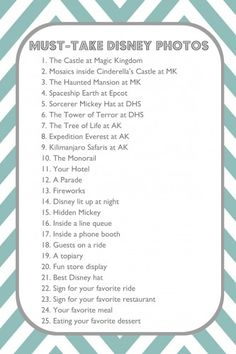 25 Must-Take Disney Photos...for September!