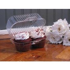 2 compartment hinged plastic cupcake container with deep dome - 100/ Case