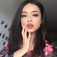 "Beautiful @hayley_bui  BROWS: #Dipbrow in Ebony  LIPS: Matte Lipstick in ""Dead Roses""  #anastasiabeverlyhills #abhlipstick"