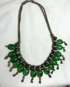 Green Glass Bead Necklace