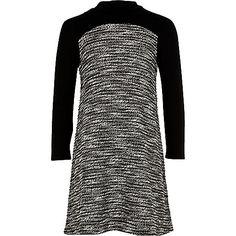 Girls black textured swing dress - day dresses - dresses - girls