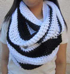 Two Tone Scarf Black and White Infinity Cowl by BerrysCreations, $45.00