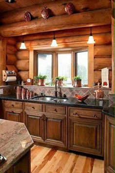what an adorable log home kitchen. | log cabin kitchen | pinterest