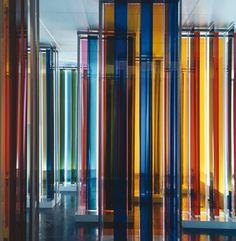 """Cruz Diez, Transchromie en la exposición """"Cruz-Diez. Cinq propositions sur la couleur"""", 1969"""