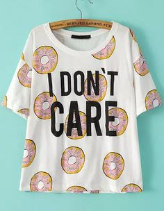 White Short Sleeve Biscuit Letters Print T-Shirt 13.91