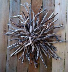 Celestial,Sunburst,Driftwood Art Wall Sculpture,Hand Made,Home Decor,Nautical,Beach Decor,Ooak, on Etsy, $145.00