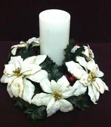 White Ponsettias candle holder for Christmas gifts and decoration shop online Rs 750