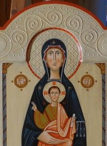 Icon of the Mother of God Enthroned with Christ Child.( by Olga Shalamova Like Icon, Madonna, Byzantine Art, Orthodox Icons, Mother And Child, Murals, Religion, Christian, Traditional