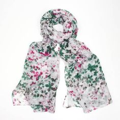 Fun Anna White Scarf with pink & green floral design #fun_summer_pink_green_white_floral_scarf_sarong_holidays_versatile_Anna