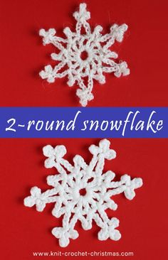 Easy crochet snowflake - Knit & Crochet Christmas Crochet an easy snowflake that is quick to make. Just crochet two rounds and the snowflake is done. Diy Christmas Snowflakes, Crochet Christmas Decorations, Snowflake Craft, Christmas Applique, Christmas Crochet Patterns, Crochet Christmas Ornaments, Crochet Decoration, Holiday Crochet, Snowflake Decorations