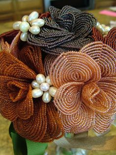 Items similar to Heirloom French Beaded Wedding bouquet Brooches of fresh water pearls Flowers Fall Colors wedding dress ready on Etsy Seed Bead Flowers, French Beaded Flowers, Rose Flowers, Beaded Bouquet, Brooch Bouquets, Non Flower Bouquets, Wedding Bouquets, Beaded Jewelry Designs, Bead Jewelry