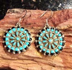 Native American Earrings Sterling Silver Zuni Tribe Turquoise