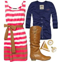 Hot pink & white striped dress, with a navy blue cardigan. Love how the bow matches the boots perfectly as well! Great outfit, casual or dressy!