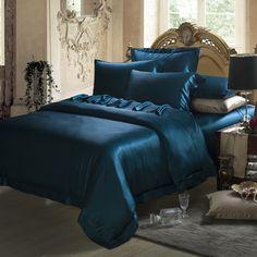 19 Momme Silk Sheets Teal Comforter, Satin Bedding, Duvet Bedding, Comforter Sets, Teal Bedding Sets, Velvet Bedspread, King Comforter, Silk Sheets, Bed Sheets